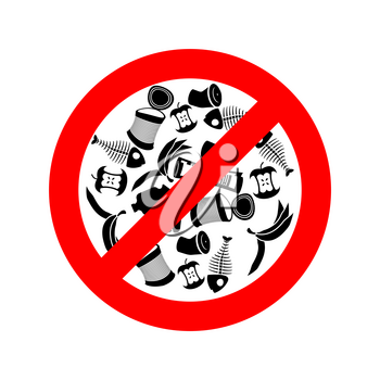Stop littering. Ban garbage. It is forbidden to litter. red circle road sign.