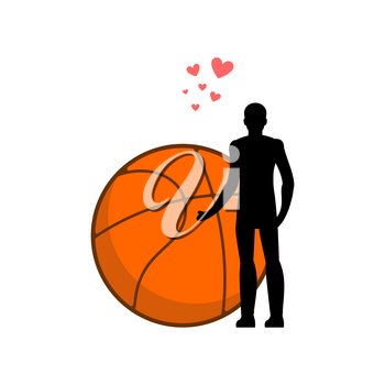 Lover basketball. Man and ball. I love sport game. Lovers embrace. Romantic date