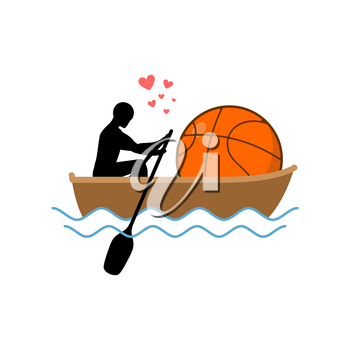 Lover basketball. Guy and ball ride in boat. Lovers of sailing. Romantic date. Love sport play game