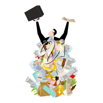 Businessman in garbage heap. Boss in Pile Rubbish. Waste management in Stack trash