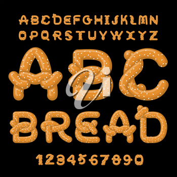 Bread ABC. Pretzel font. Food alphabet. Traditional German meal. Bake snack