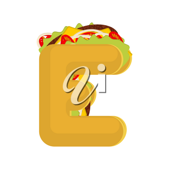 Letter E tacos. Mexican fast food font. Taco alphabet symbol. Mexico meal ABC
