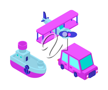 Toy transport cartoon style set. Car and Plane, Steamboat. Auto and Ship, aircraft Kids Style. vector illustration