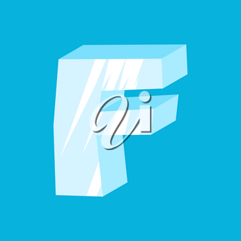 letter F ice font. Icicles alphabet. freeze lettering. Iceberg ABC sign
