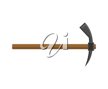 Pickaxe isolated tool for mining. Accessory miner. Vector illustration
