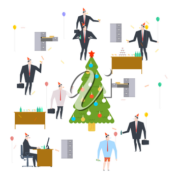 New Years corporate party. Christmas in office. Vector illustration