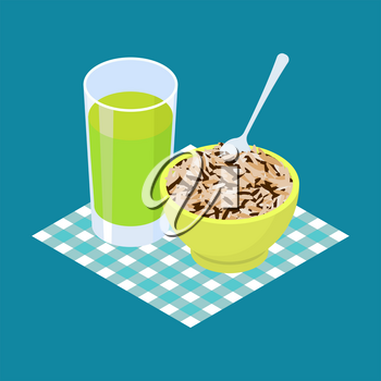 Wild rice Porridge and fruit juice. Breakfast Healthy food. Vector illustration