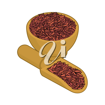 Red rice in wooden bowl and spoon. Groats in wood dish and shovel. Grain on white background. Vector illustration