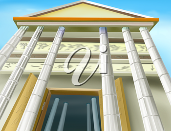 Digital painting of the portico of an Ancient Temple. Bottom view