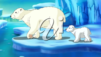 Digital painting of the Polar Bear and teddy-bear in Arctic