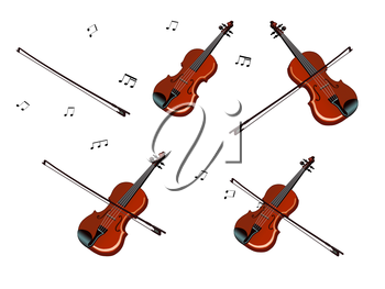 Set of wooden violins separate images. Digital painting  full color cartoon style illustration isolated on white background.