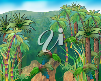 Digital Painting, Illustration of a green crowns of palm trees on a background of mountains and blue sky. Cartoon Style Character, Fairy Tale Story Background.