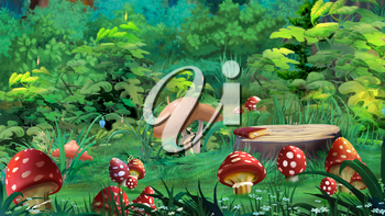 Fairy Tale Amanita Mushrooms in a Forest Glade in a Summer Day. Digital painting background, Illustration in cartoon style character.