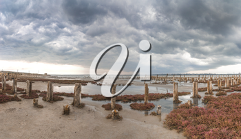 Storm clouds over the Kuyalnik Salty drying estuary in Odessa, Ukraine