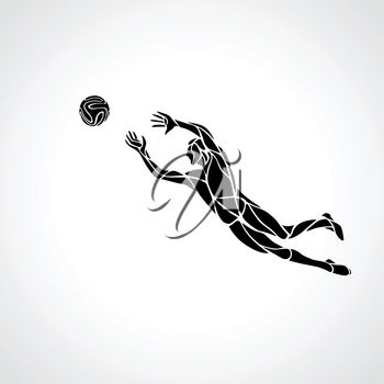 Soccer or football player, goalkeeper jumping. Abstract line art vector silhouette. Illustration on white background.