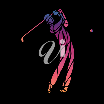 Golf Sport Silhouette of Golfer finished hitting Tee-shot on black background