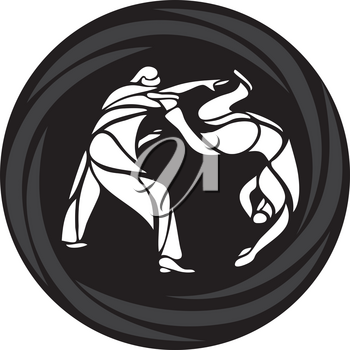 Judo or aikido martial arts vector logo, label, badge with two fighters