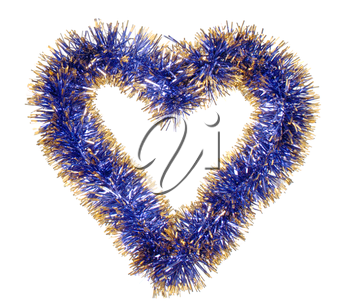 Blue gold tinsel forming heart isolated on white background