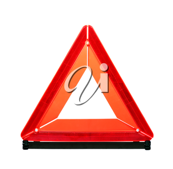 Red emergency sign isolated on white background