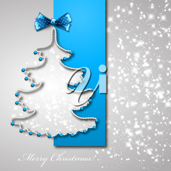 Christmas tree from blue ribbon vector background. Eps 10.