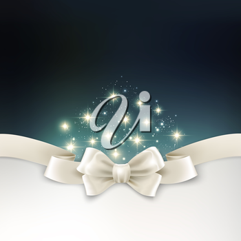 Vector Holiday light Christmas background with white silk bow