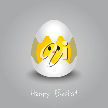 Vector illustration Easter card with chicken. EPS 10