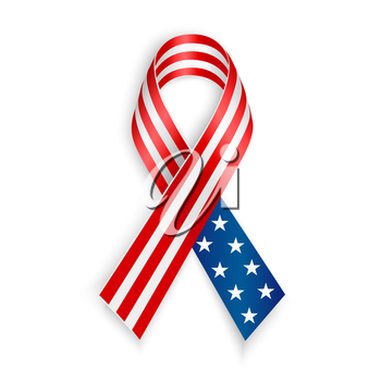 American Flag Ribbon. Patriotic, support symbol. Independence and memorial Day