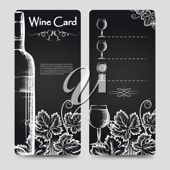 Wine card menu flyers template with hand drawn grapes bottles and glasses eurosize. Vector illustration