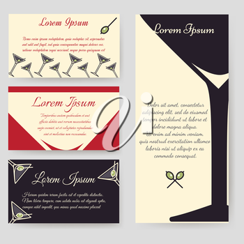 Drinks flyer template and drinks personal cards template set. Vector illustration