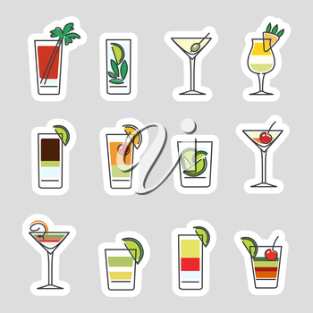 Drinks stickers set isolated on grey background. Vector illustration