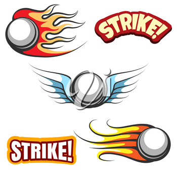 Bowling ball icons. Vector bowling ball with wings and the word strike
