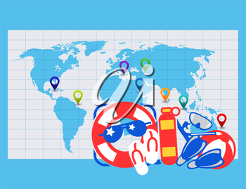 Word map with sea location tags and swim accessories. Vector illustration