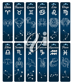 Vertical zodiac signs banners with constellations. Vector illustration