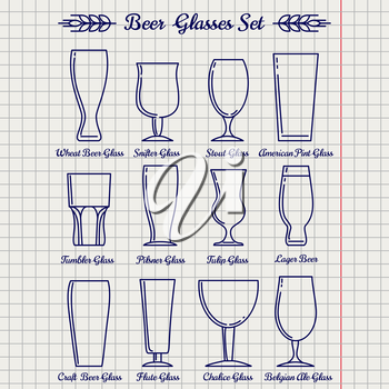 Beer glasses line icons set vector on notebook page