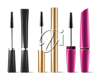 Vector mascara brush makeup packaging isolated on white background