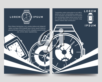 Watch brochure flyers template blue and white set. Vector illustration