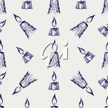 Hand drawn candles seamless pattern vector illustration. Ball pen sketch background