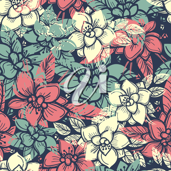Boho floral seamless pattern with colorful flowers. Vector illustration