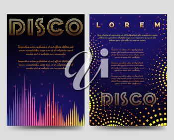 Bright disco brochure flyers template with soundwaves vector