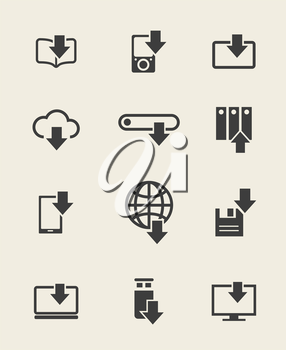Different devices download icons and data loading arrow signs. Vector illustration