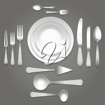 Vector dinnerware top view. Empty plates, forks and knifes and cutlery