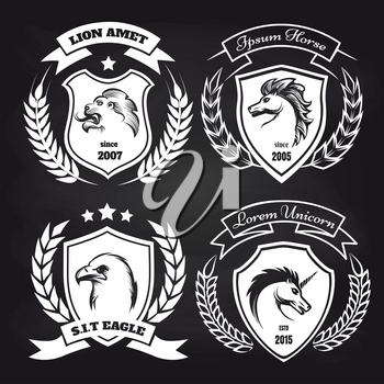 White medieval coat of arms collection with lion, eagle, horse and unicorn on blackboard background. Vector illustration