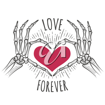 Love you forever vector illustration with skeleton pink heart hands in doodle sketch style
