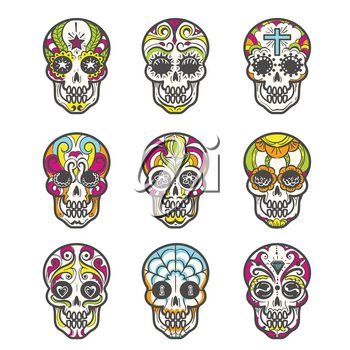 Colored sugar skull isolated on white background. Mexican hand drawn calavera set for halloween or day of the dead, dia de los muertos