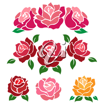 Colorful roses isolated on white background. Vector flowers for design, wedding, invitation