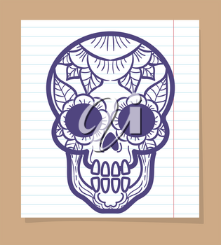 Decorative human skull with floral ornament on linear notebook page. Vector illustration