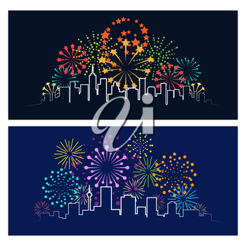 Fireworks city skyline. Celebrating firework over night town panorama, urban festive party landscape concept vector illustration