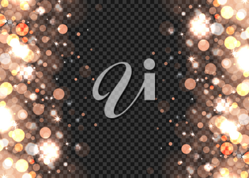 Abstract bronze bokeh lights on the transparent background, vector illustration
