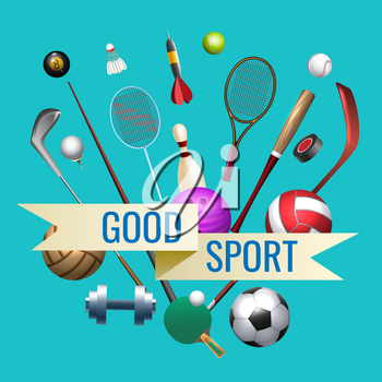 Sports goods. Isolated sport tools on blue background with inscription, vector sporting equipements banner, fitness items concept
