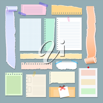 Scrapbooking paper memos. Papers post note stickers for scrapbook design, blank attach message shreds isolated on background, sheet banners and badges scrapbooker collection
